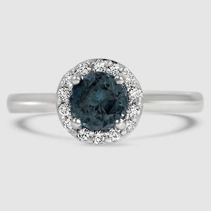 18K White Gold Sapphire Halo Diamond Ring (1/8 ct. tw.)