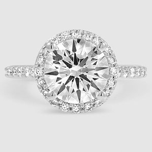 f35760ff15272 18K White Gold Halo Diamond Ring with Side Stones (1 3 ct. tw