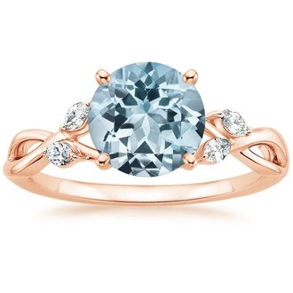 14k rose gold aquamarine willow ring - Aquamarine Wedding Rings