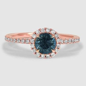 14K Rose Gold Sapphire Waverly Diamond Ring