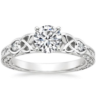 18k white gold aberdeen diamond ring - Antique Style Wedding Rings