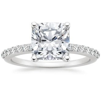 18k white gold petite shared prong diamond ring - Cushion Cut Wedding Rings