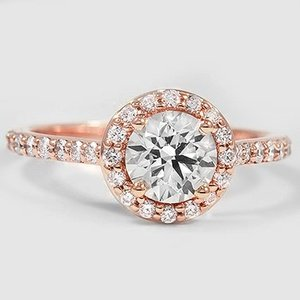 14K Rose Gold Halo Diamond Ring with Side Stones (1/3 ct. tw.)