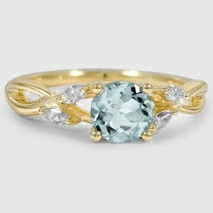 18K Yellow Gold Sapphire Willow Diamond Ring (1/8 ct. tw.)
