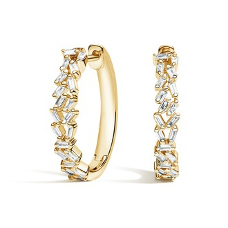 Baguette Diamond Cluster Hoop Earrings (1/4 ct. tw.) Image