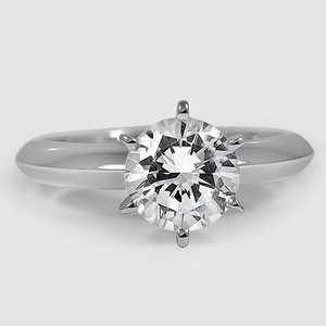 18K White Gold Six-Prong Classic Ring
