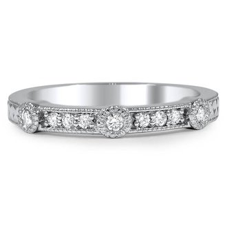 hand engraved bezel set diamond wedding ring - Engraved Wedding Rings