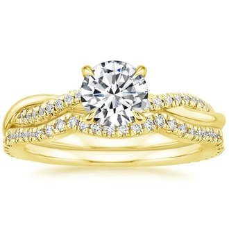 Superbe 18K Yellow Gold. PETITE TWISTED VINE CONTOURED DIAMOND BRIDAL SET ...