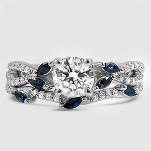 2620830ecd5d8 18K White Gold Luxe Willow Sapphire and Diamond Bridal Set (1/4 ct. tw.)