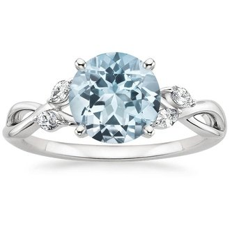 pic · 18K White Gold. AQUAMARINE WILLOW RING