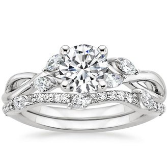 18k white gold willow diamond - Wedding Engagement Ring Sets