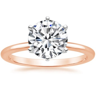 14K Rose Gold Six-Prong Petite Comfort Fit Ring