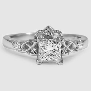 Platinum Celtic Claddagh Diamond Ring