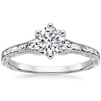 Antique vintage style engagement rings brilliant earth 18k white gold hudson ring junglespirit Image collections