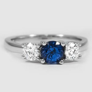 18K White Gold Sapphire Three Stone Diamond Trellis Ring