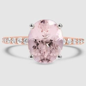 14K Rose Gold Sapphire Petite Shared Prong Diamond Ring