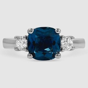 Platinum Sapphire Petite Three Stone Trellis Ring (1/3 ct. tw.)