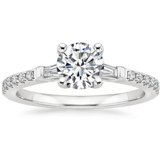 Diamond Accented Luxe Tapered Baguette Engagement Ring