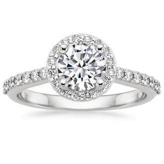 18k white gold halo diamond ring - Halo Wedding Ring