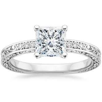 Antique vintage style engagement rings brilliant earth 18k white gold delicate antique scroll diamond ring junglespirit Image collections