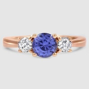 14K Rose Gold Sapphire Petite Three Stone Trellis Ring