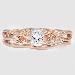 14K Rose Gold Budding Willow Bridal Set