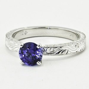18K White Gold Sapphire Hand-Engraved Laurel Ring