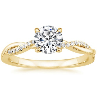 18K Yellow Gold Petite Twisted Vine Diamond Ring (1/8 ct. tw.)