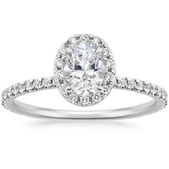 18k white gold waverly diamond ring - Oval Wedding Rings