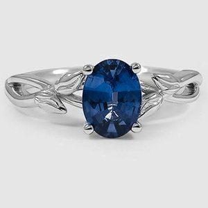 18K White Gold Sapphire Budding Willow Ring