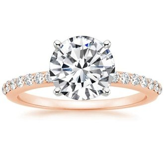 14K Rose Gold. Petite Shared Prong Diamond Ring ...
