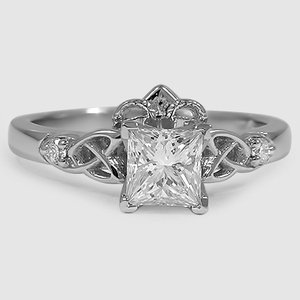 Platinum Celtic Claddagh Ring