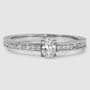 Platinum Delicate Antique Scroll Diamond Ring