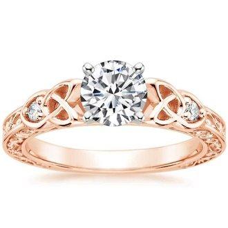 14k rose gold - Rose Gold Diamond Wedding Ring