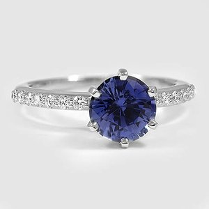 18K White Gold Sapphire Petite Shared Prong Diamond Ring
