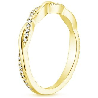 18k yellow gold petite twisted vine diamond ring - Yellow Gold Wedding Rings