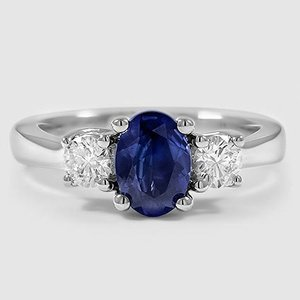 18K White Gold Sapphire Petite Three Stone Trellis Ring (1/3 ct. tw.)