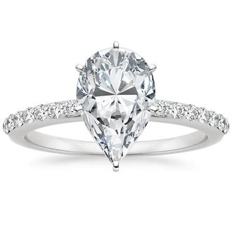 Superbe 18K White Gold. PETITE SHARED PRONG DIAMOND RING ...