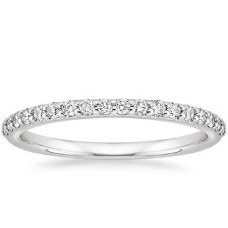 18k white gold petite shared prong diamond ring - Wedding Rings And Bands