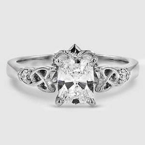 18K White Gold Celtic Claddagh Diamond Ring