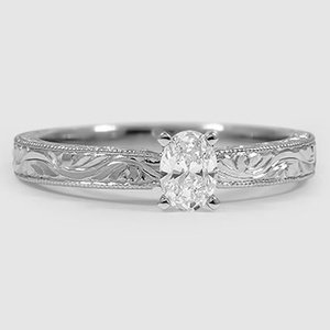 Platinum Hand-Engraved Laurel Ring