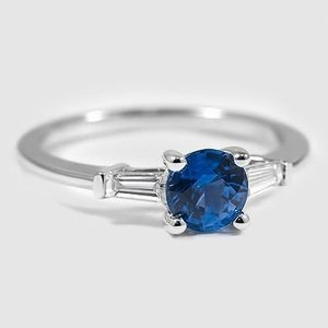 18K White Gold Sapphire Tapered Baguette Diamond Ring
