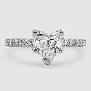 18K White Gold Petite Shared Prong Diamond Ring (1/4 ct. tw.)