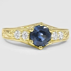 18K Yellow Gold Sapphire Art Deco Filigree Diamond Ring