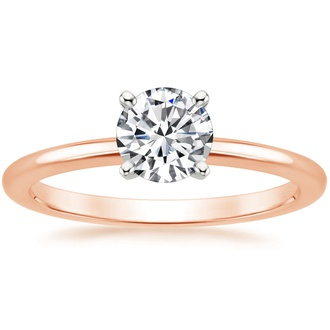 14K Rose Gold Four-Prong Petite Comfort Fit Ring