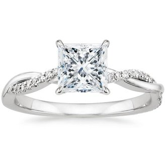 18k white gold petite twisted vine diamond ring - Princess Cut Diamond Wedding Ring