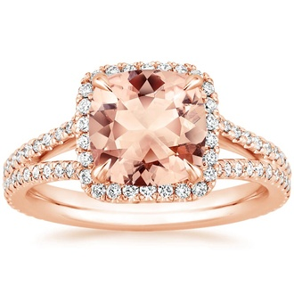 14k rose gold morganite fortuna ring - Nontraditional Wedding Rings