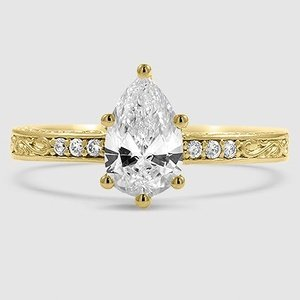 18K Yellow Gold Delicate Antique Scroll Diamond Ring