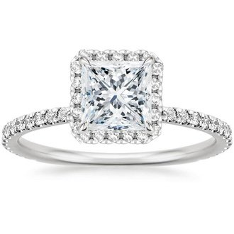 ring rings engagement gold g cut cttw diamond halo square white h princess