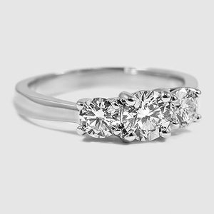18K White Gold Three Stone Trellis Diamond Ring